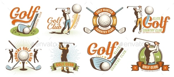 Golf Retro Logo with Clubs Balls and Golfer - Miscellaneous Vectors
