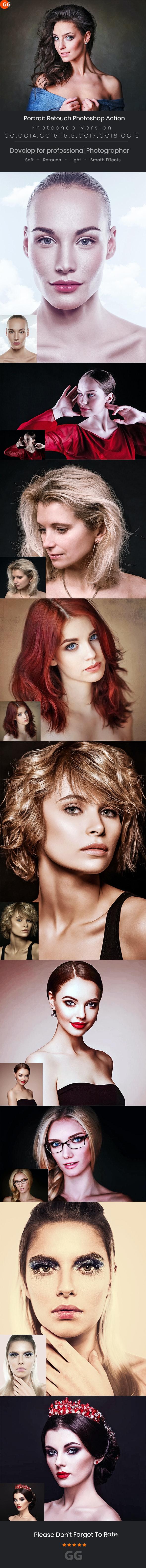 Portrait Retouch Photoshop Action - Photo Effects Actions