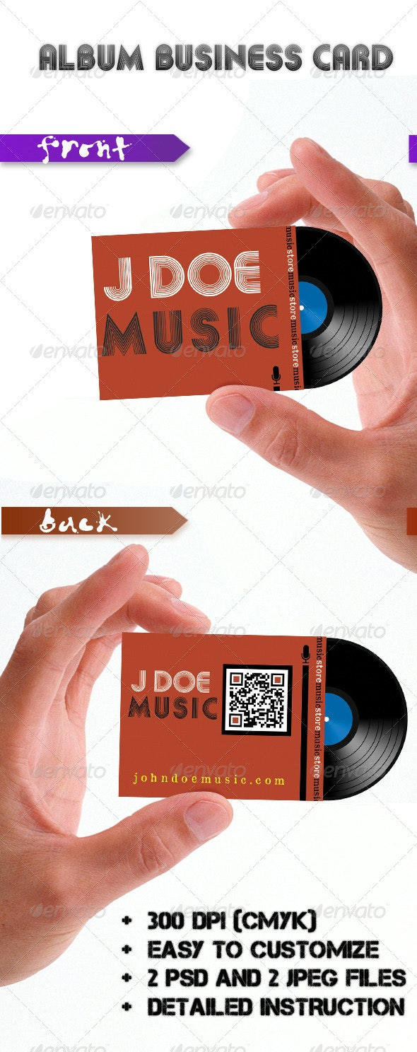 Album Music Card - Business Cards Print Templates