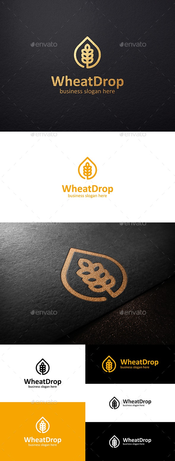 Wheat Drop Logo and Wheat Grain - Nature Logo Templates