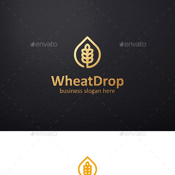 Wheat Drop Logo and Wheat Grain