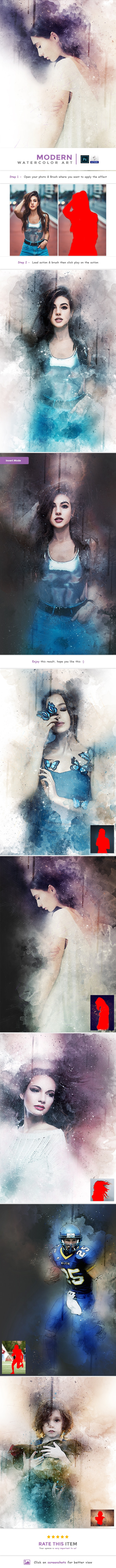 Modern Watercolor Art - PS Action - Photo Effects Actions
