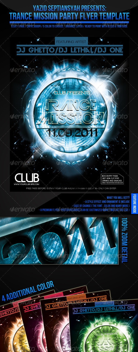 Trance Mission Flyer Template - Clubs & Parties Events