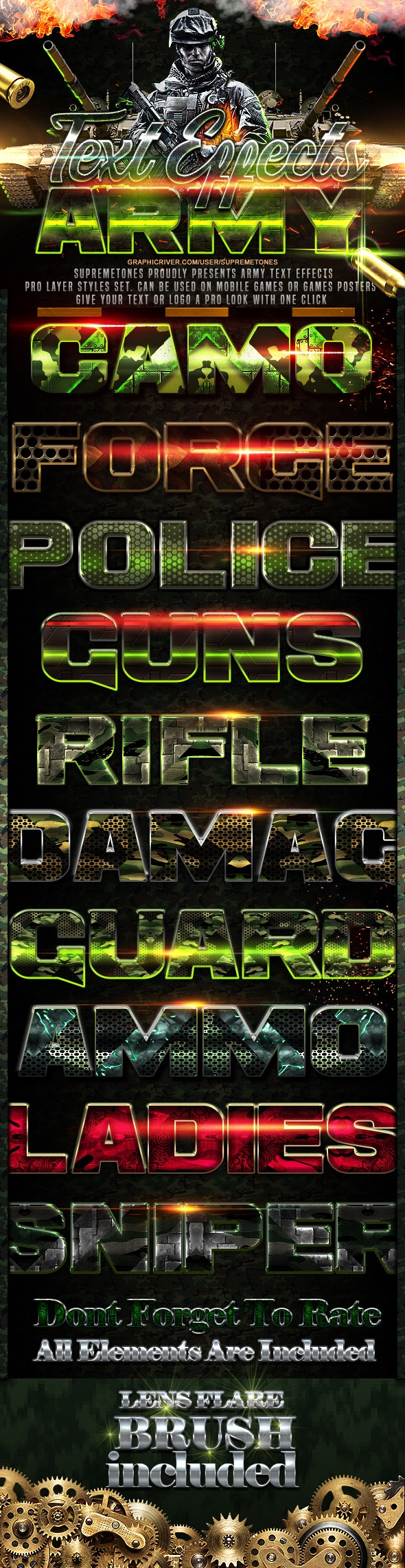Army Photoshop Text Effects - Text Effects Styles