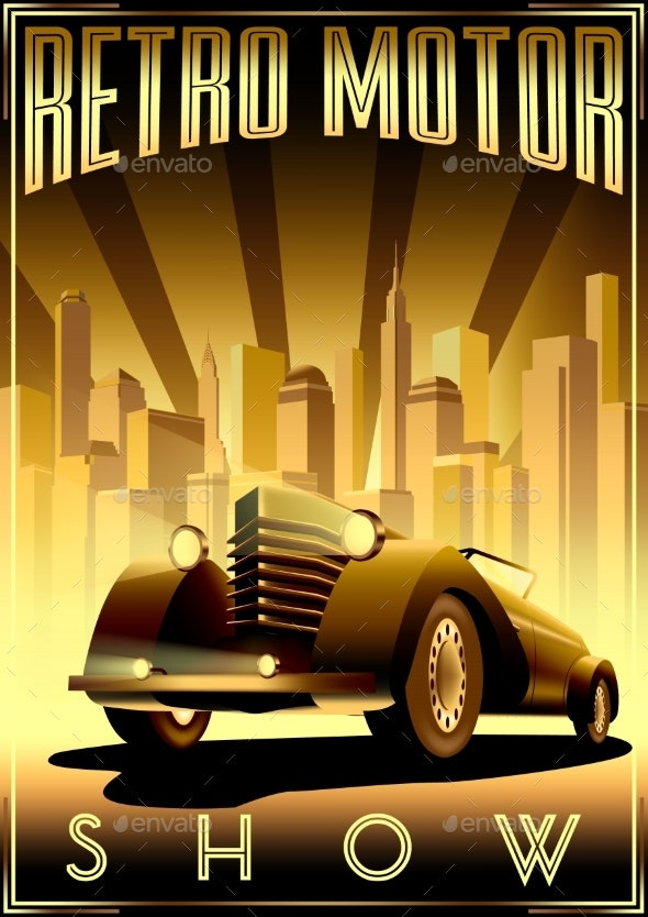 Retro Car Motor Show Vintage Poster - Man-made Objects Objects