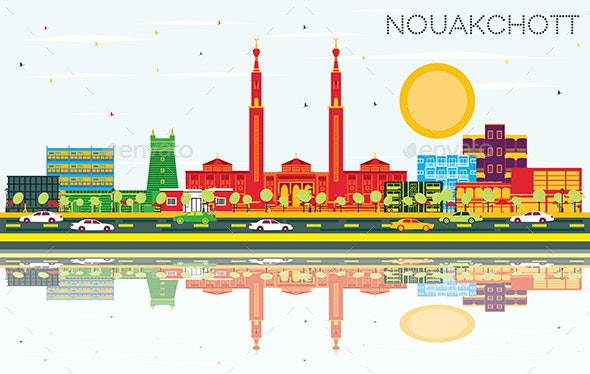Nouakchott Mauritania City Skyline with Color Buildings, Blue Sky and Reflections. - Buildings Objects