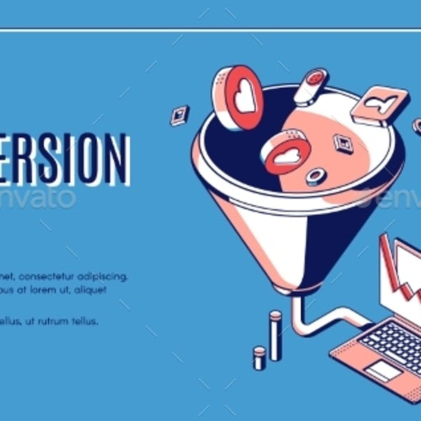 Conversion Rate Isometric Web Banner Funnel Sales