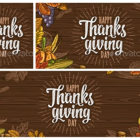 Poster with Happy Thanksgiving Day Calligraphy