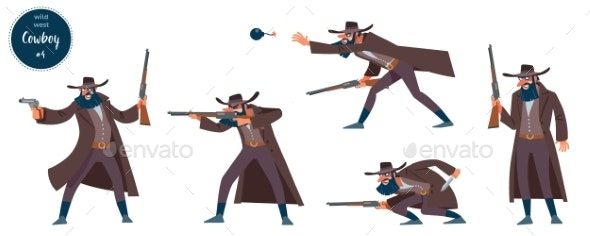 Wild West Robber Cowboy Design Concept with Flat - People Characters