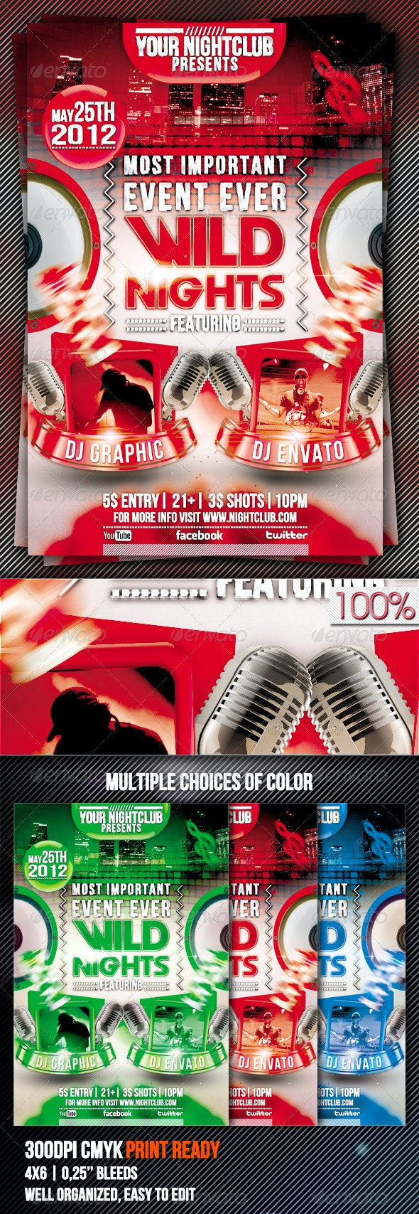 Wild Nights Flyer Template - Clubs & Parties Events