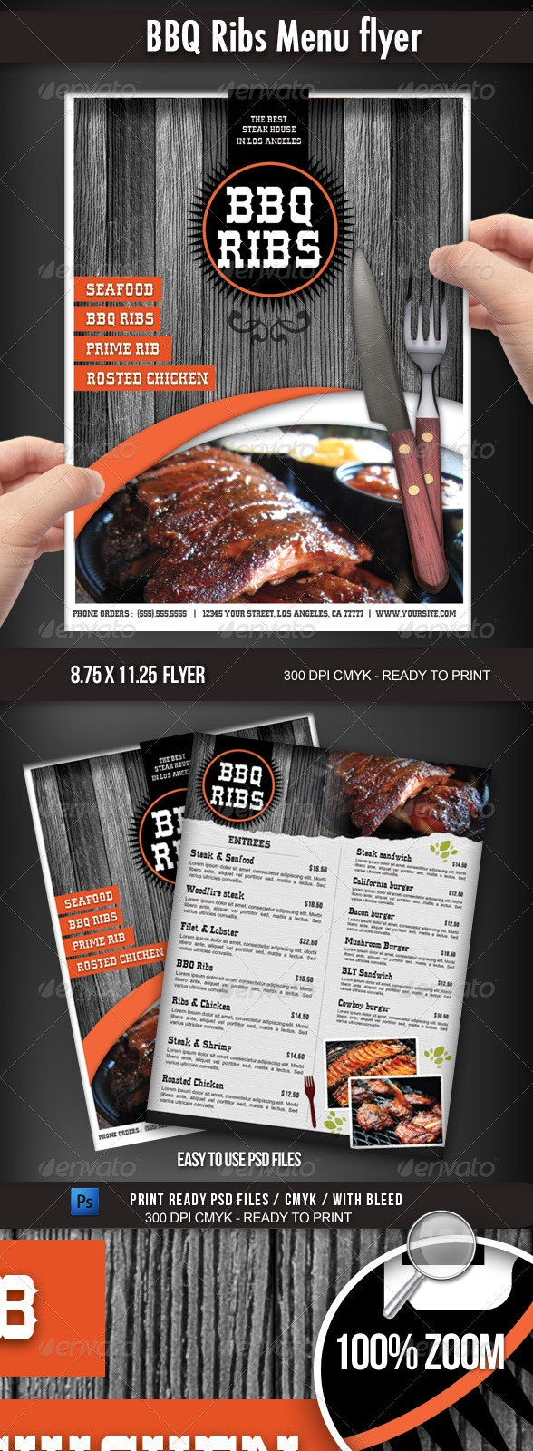 BBQ Restaurant Menu flyer - Flyers Print Templates
