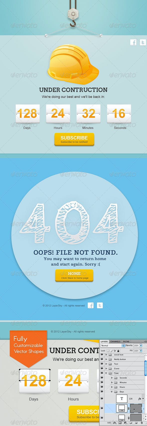 Sky Error 404 And Under Construction Page