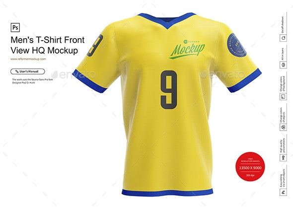 Men's T-Shirt Front View HQ Mockup - Product Mock-Ups Graphics