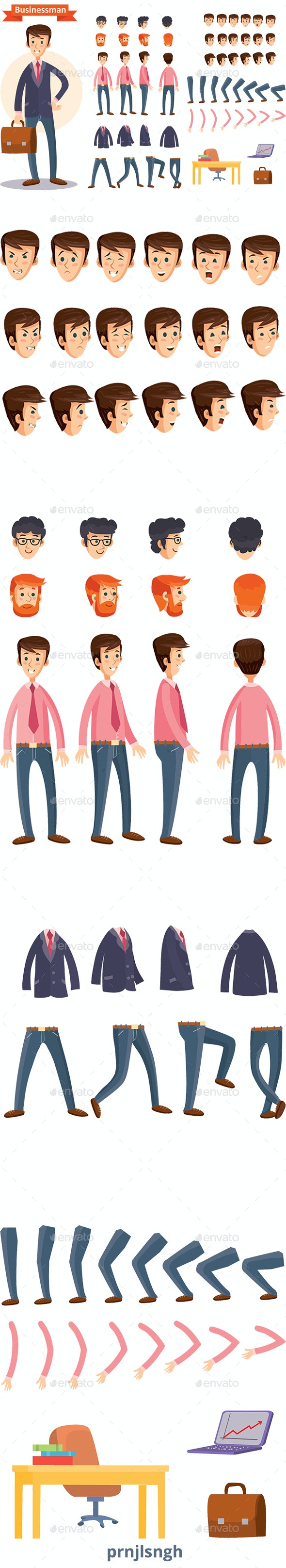 Businessman Vector Animation Set - People Characters