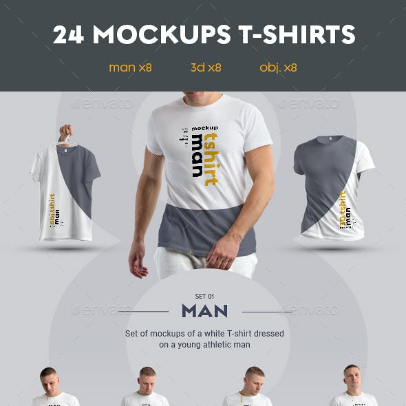 24 Stylish  MockUps Man T-Shirt - Man/3D/obj.