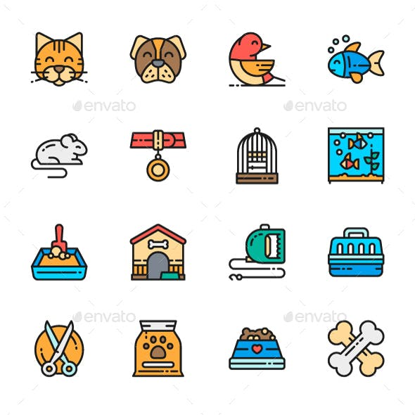 Set Of Pet Shop Line Icons. Pack Of 64x64 Pixel Icons