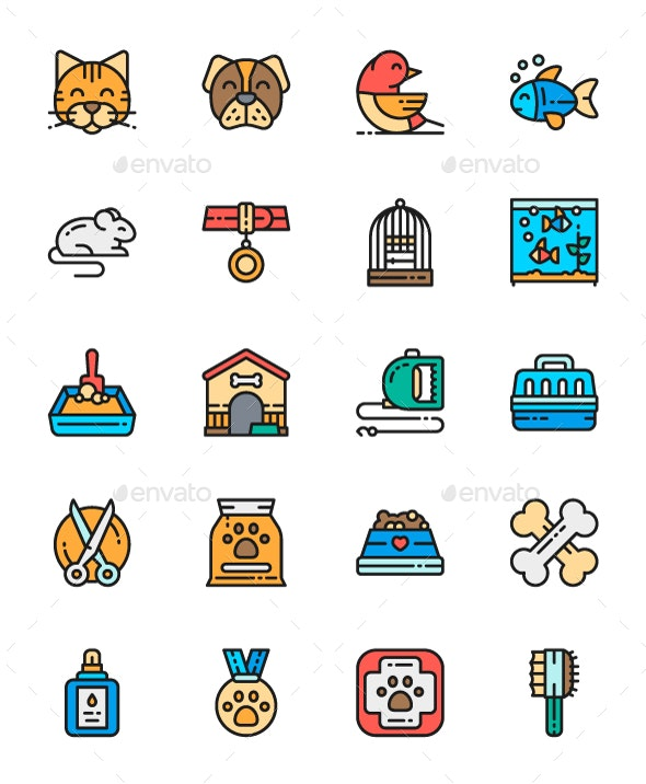 Set Of Pet Shop Line Icons. Pack Of 64x64 Pixel Icons - Animals Characters