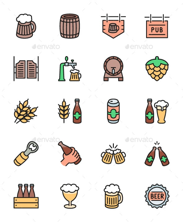 Set Of Beer And Pub Color Line Icons. Pack Of 64x64 Pixel Icons - Objects Icons