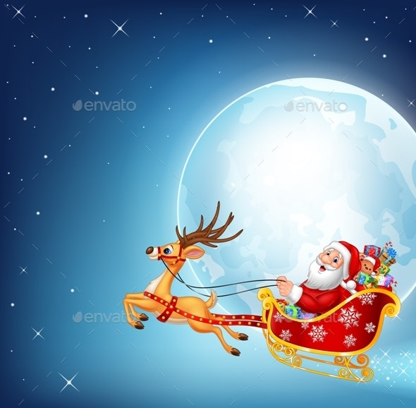 Santa Claus in a Sleigh - Christmas Seasons/Holidays