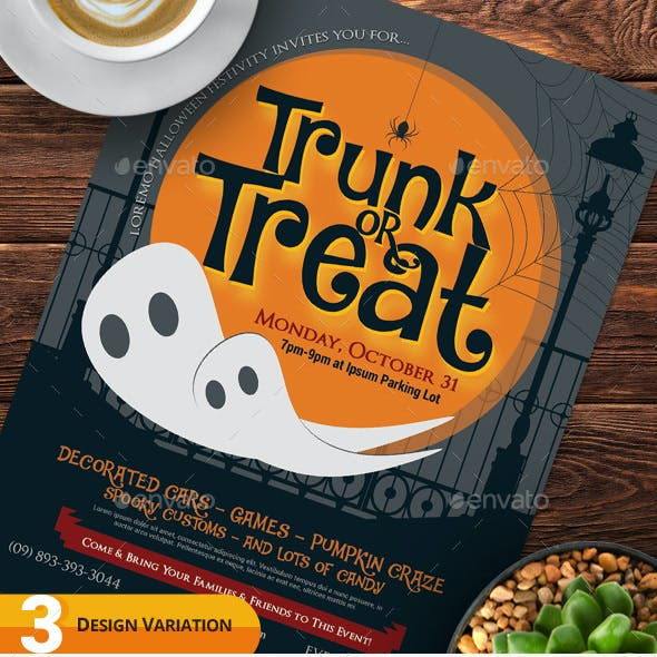 Halloween Trunk or Treat Flyer Templates