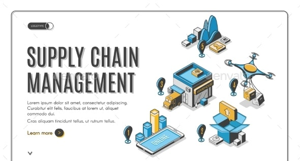Supply Chain Management Isometric Landing Banner - Concepts Business