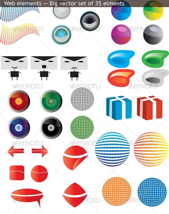 35 design elements.  - Decorative Vectors