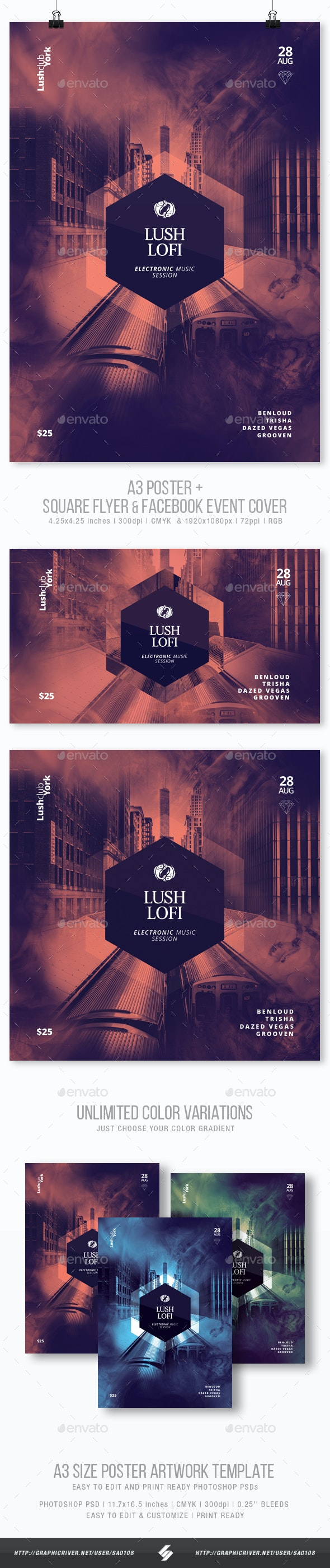 Lush Lofi - Minimal Party Flyer / Poster Template A3 - Clubs & Parties Events