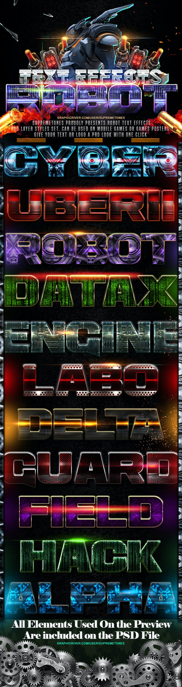 Robot Photoshop Text Effects - Text Effects Styles