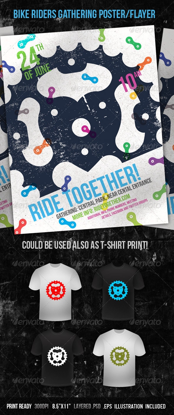 Bike Riders Gathering Poster/Flayer - Sports Events