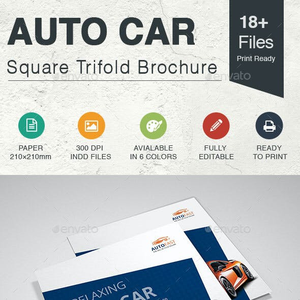 Auto Car Square Trifold Brochure
