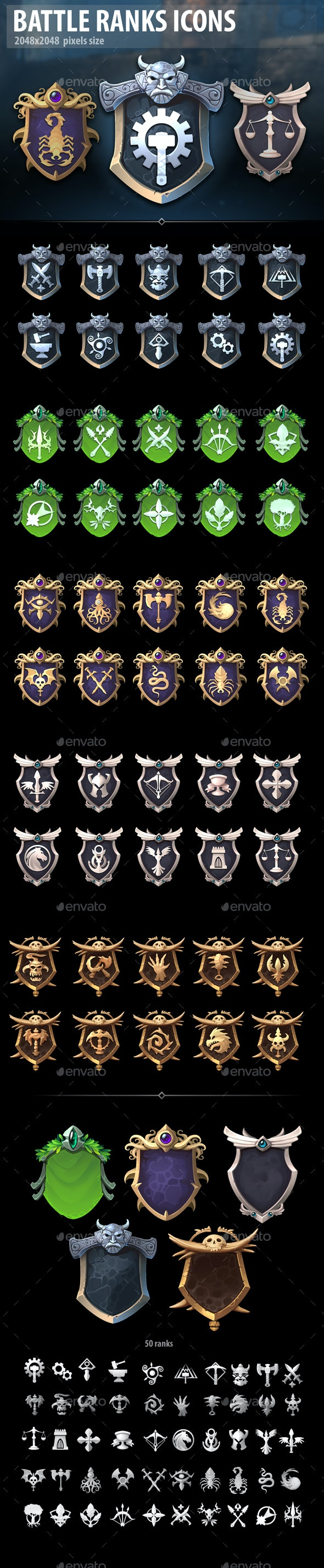 Battle Ranks Icons - Miscellaneous Game Assets