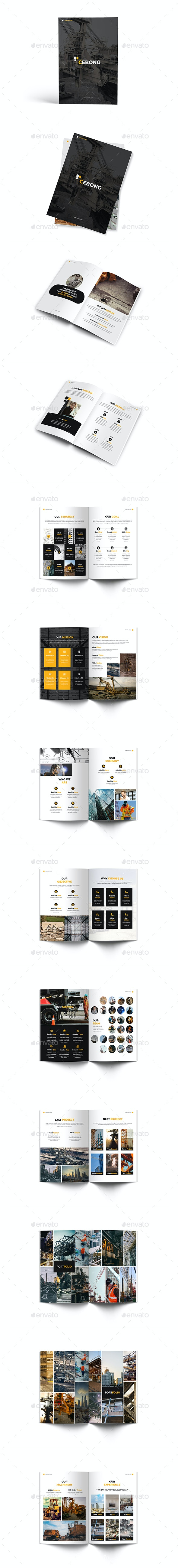 Construction A4 Brochure Template - Brochures Print Templates