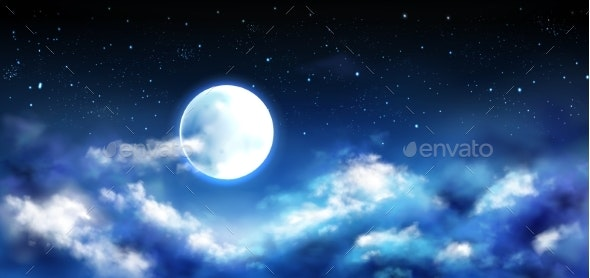 Full Moon in Night Sky with Stars and Clouds Scene - Landscapes Nature