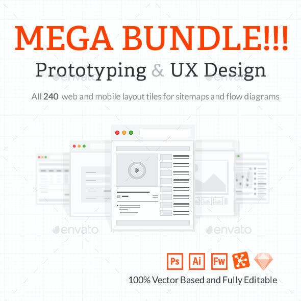 Mega Bundle - Web and Mobile Tiles for UX sitemaps and wireframes