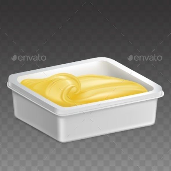 Margarine in Plastic Container Realistic Vector