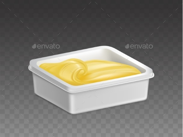 Margarine in Plastic Container Realistic Vector - Food Objects