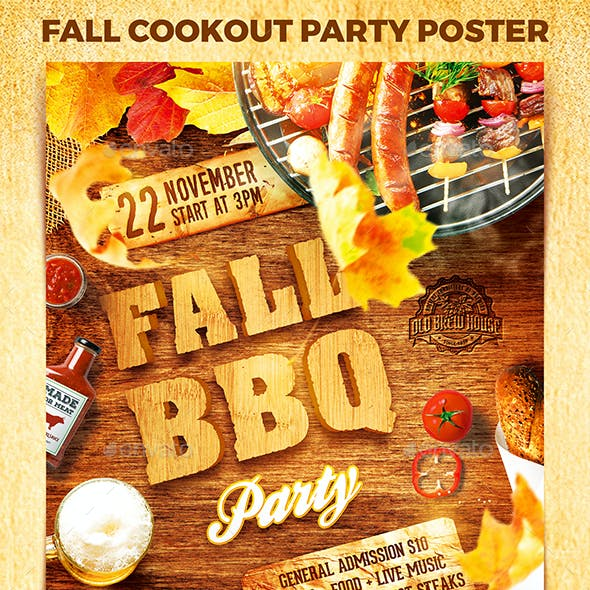 Fall Cookout Party Poster