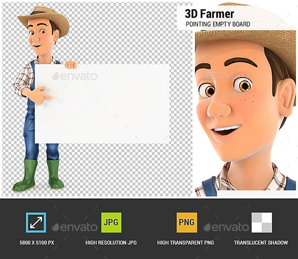 3D Farmer Pointing Empty Board - Characters 3D Renders