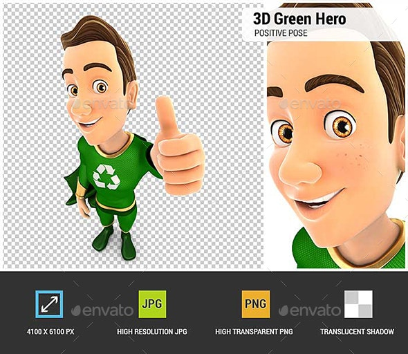 3D Green Hero Positive Pose with Thumb Up - Characters 3D Renders