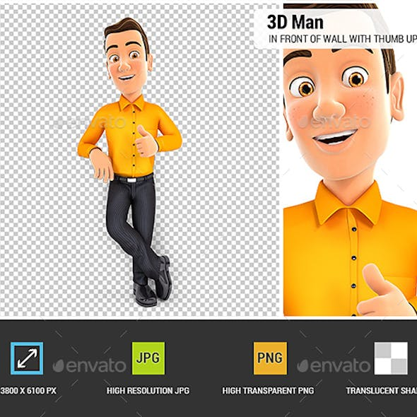 3D Man Standing in Front of Wall with Thumb Up