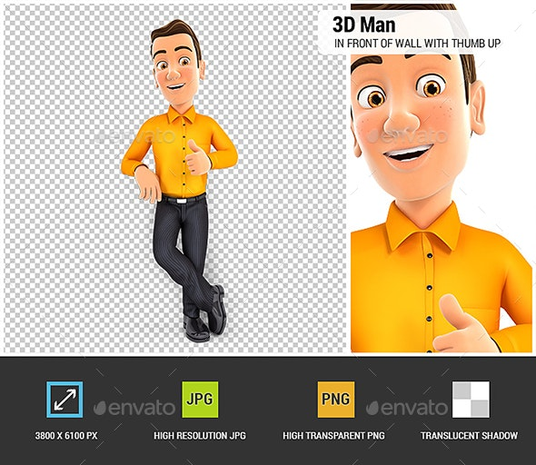 3D Man Standing in Front of Wall with Thumb Up - Characters 3D Renders
