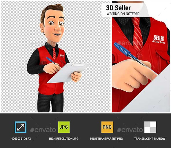 3D Seller Writing on Notepad - Characters 3D Renders