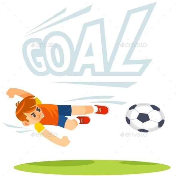 Soccer Football Kick Striker Scoring Goal - Sports/Activity Conceptual