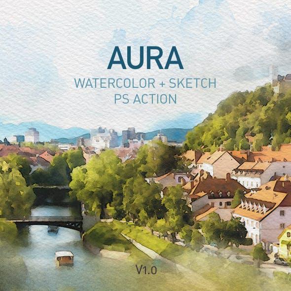 AURA | Watercolor Sketch Photoshop Action