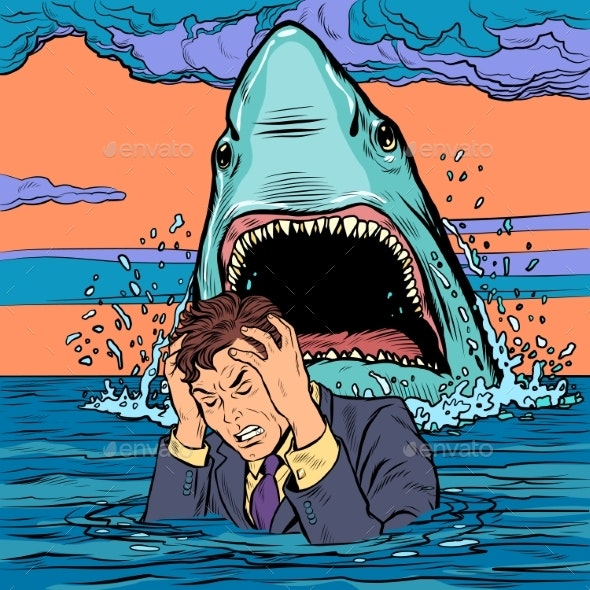 The Shark Attacks the Businessman - Animals Characters