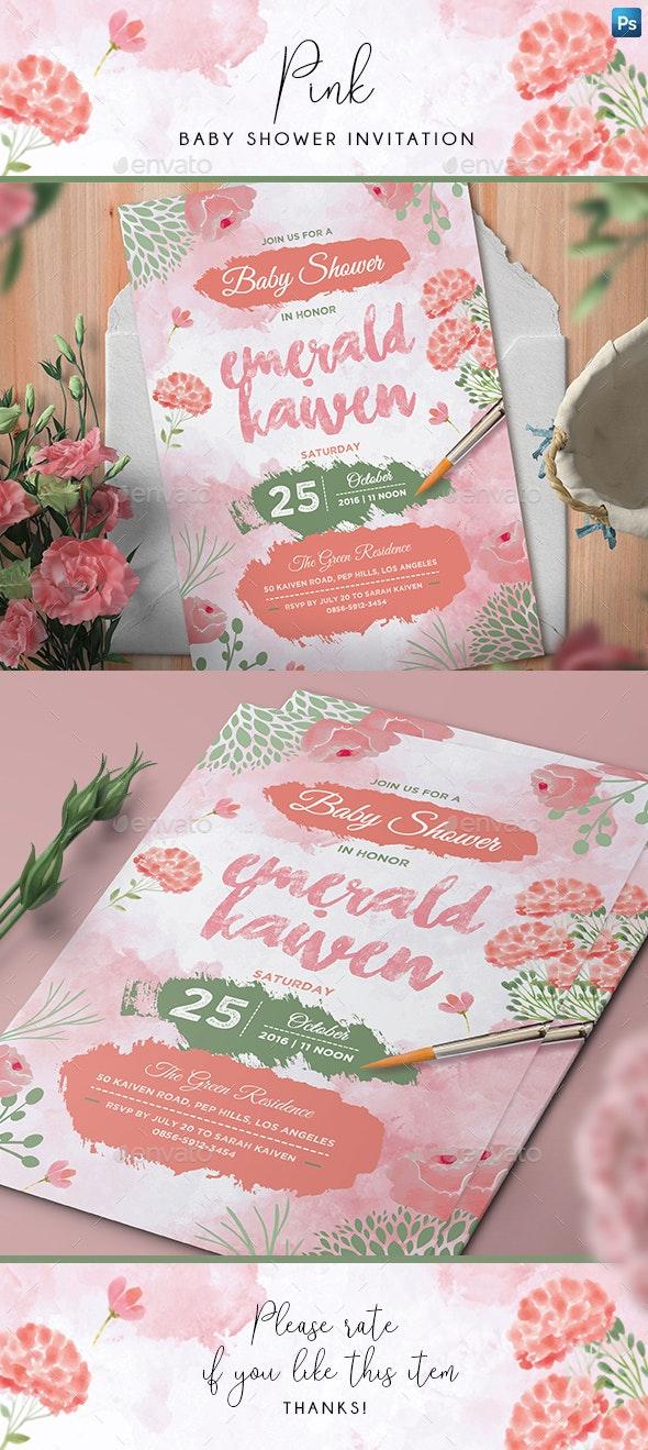 Pink Baby Shower Invitation - Invitations Cards & Invites