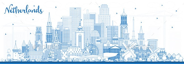 Outline Netherlands Skyline with Blue Buildings - Buildings Objects