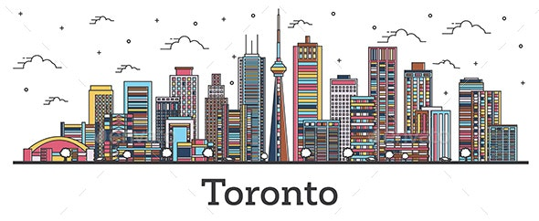 Outline Toronto Canada City Skyline with Color Buildings Isolated on White - Buildings Objects