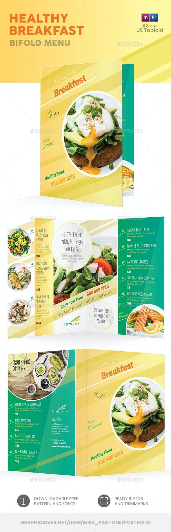 Healthy Breakfast Bifold / Halffold Menu - Food Menus Print Templates