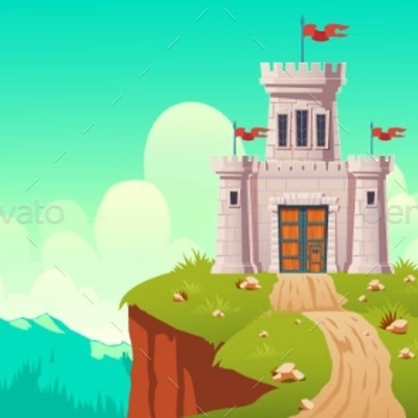 Medieval Castle Fort on Cliff Cartoon Vector
